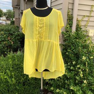 Torrid Chiffon Yellow Sheer Babydoll Blouse 3X